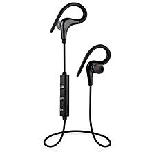 Wireless Bluetooth Sports Running Earhook Stereo Headset with Microphone - Black