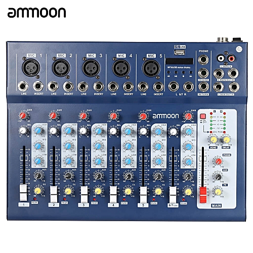 ammoon F7-USB 7-Channel Digital Mic Line Audio Sound Mixer Mixing Console  with USB Input 48V 3 Bands Equalizer for Recording DJ Stage Karaoke Music