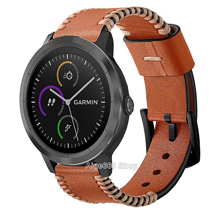 """Generic Replacement Crazy Horse Soft Genuine Leather Strap Band for Garmin Vivoactive 3 Music Smart Watch (brown 1"""",""""Freesize) FCJMALL"""