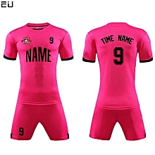 Customized Youth Chuldren And Adult Men's Football Soccer Team Jersey Set-Pink(QD-625)