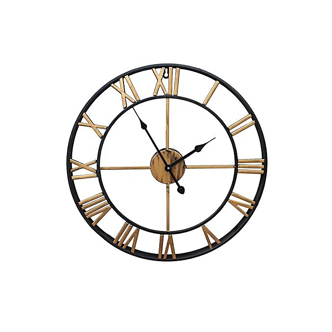 d7ee98a349cd Outdoor Garden Large Wall Clock Big Roman Numerals Giant Open Face Metal  Gold