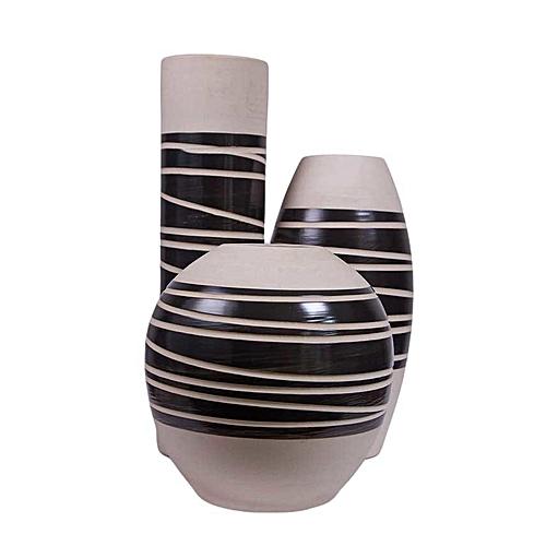 Buy Misaki Ceramic Vase Set White Black Centre Best Price