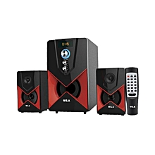 W2 -  2.1 MULTIMEDIA SPEAKER SYSTEM POWERFUL ENERGETIC 100% WOODEN MADE SUPER WOOFER  BLACK..