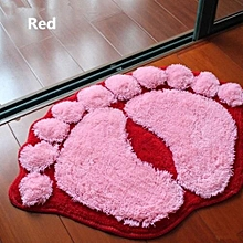 Big Feet Anti-slip Absorbent Bathroom Mat - Red