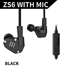 3.5mm In Ear Headphones 2DD+2BA Hybrid Drivers HiFi Running Sports Headset Music Earbud Built-in Microphone with Replacement Earphone Cable Black