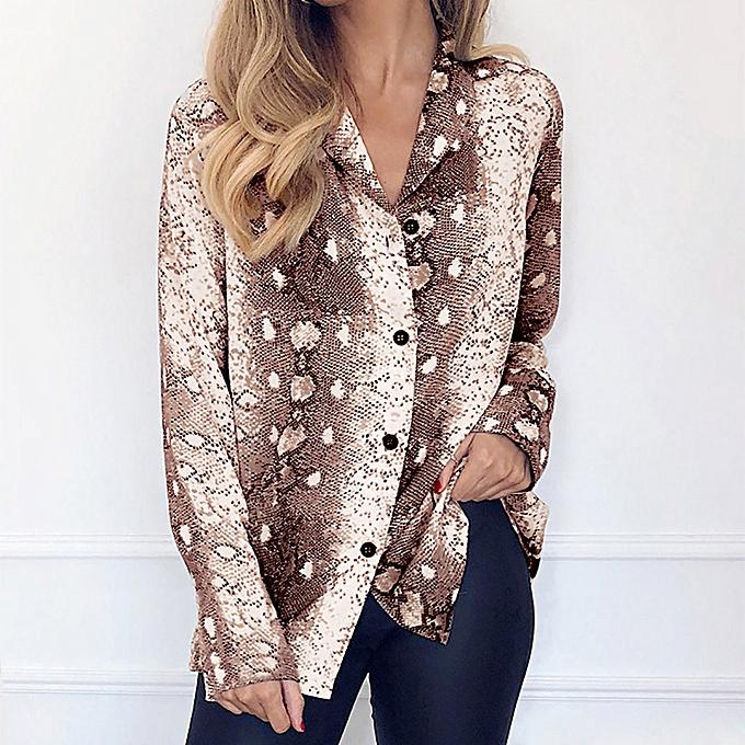eaaf27ae2a huskspo Fashion Women Long Sleeve Serpentine Print Button Turn-down Collar  Blouse Shirt