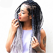 Dirty wig female color gradient small braid braided hair-multi34