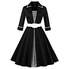 Women Stripe Patchwork Dress - Black
