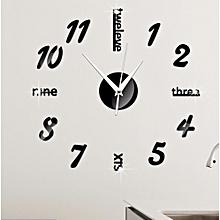 Creative Number Wall Clock Sticker-Black