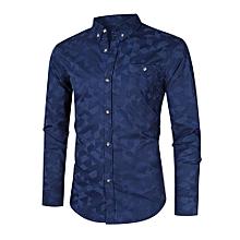 MrWonder Men's 100% Cotton Geometric Print Slim Fit Button Down Dress Shirt Color:Dark Blue Size:5XL