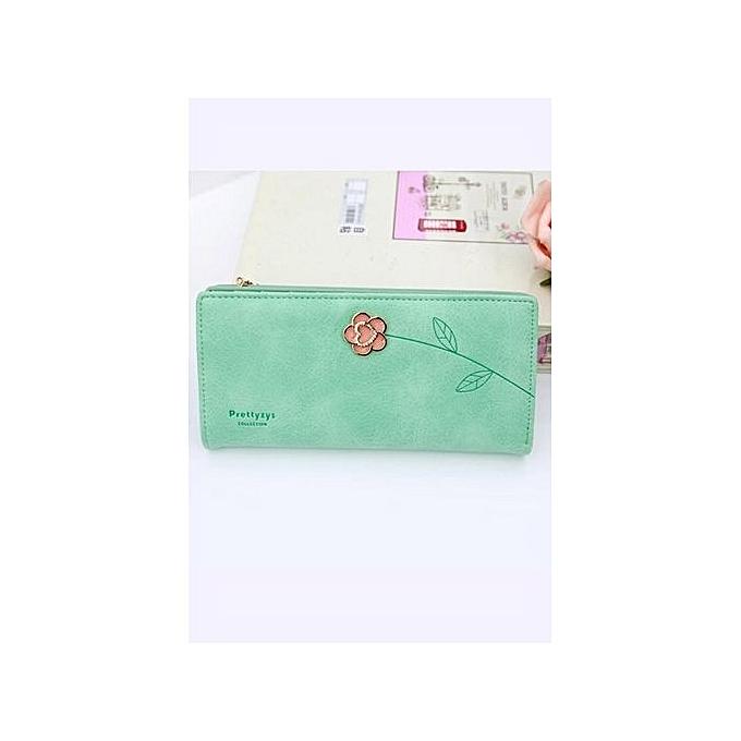 Unique Rose Decoration Women Wallet Long Design Lady Clutch Bag Girl Cash  Clip Green 6a4645efce8b7