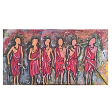 Maasai wall painting - 86 by 45 cms - multicolored