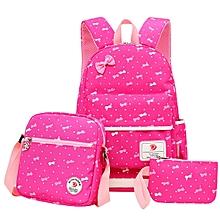 3pcs Women Backpack Girl School Fashion Shoulder Bag Rucksack Tote Travel Bags #rose