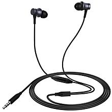 Piston Style 3.5mm Wired Earbud Earphone w/ Microphone - Black