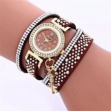 Women Ladies Metal Decorative Circle Quartz Watch Winding Bracelet BW