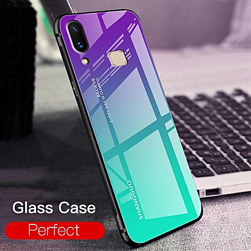 Aurora Glass Case for Vivo Y91 Y91i Glass Case Full Cover Tempered Glass  Back Cover Casing For VIVO Y91 Y91i Case Housing (Y91i-Red)