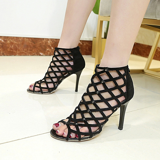 f8f95fbe0c36 ... Women s Fashion Peep Toe High Heels Shoes Rivet Roman Gladiator Sandals  ...