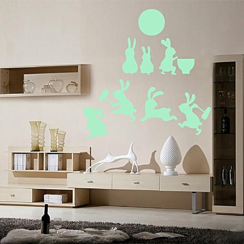 Glow in dark wall cat stickers wall stickers night kid home decor green