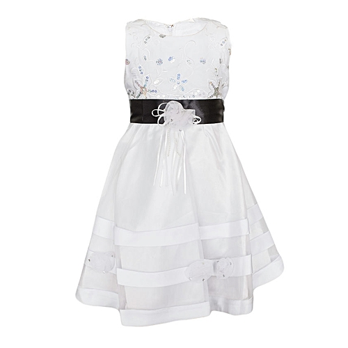50e9bc408871 Generic White Girls' Dress With A Black Ribbon Belt @ Best Price ...
