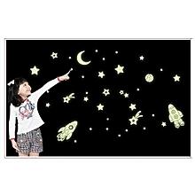Cartoon Home Decals Decor Glow In The Dark Wall Sticker Cosmic Star Spaceship-