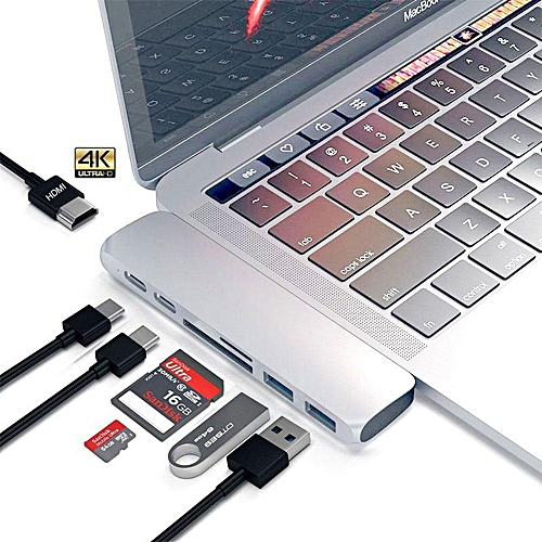 "USB C Hub 7 In 1 Aluminum Type-C Hub Adapter ,HDMI Hub for Apple MacBook Pro 2016 2017 13"" 15"" Multi-port With 40Gb / s Thunderblot 3,5Gb / s USB-C3.1 Pass-through Port,SD/TF Card Reader And 2 USB 3.0 Ports etc BDZ Mall"