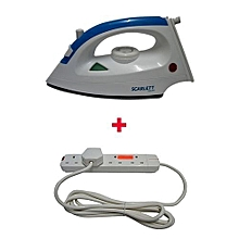 Iron Box Ypf-128 with Free 4-way Socket  Cable - 1200W - White & Blue