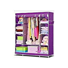 Wooden Frames Portable Wardrobe-3 Columns  -  130*170*45 Purple