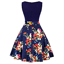 Woman Floral&Lemon Print Dress - Blue