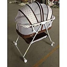 Metal Baby Crib/Baby Bed/Bassinet with a Zipper-cream