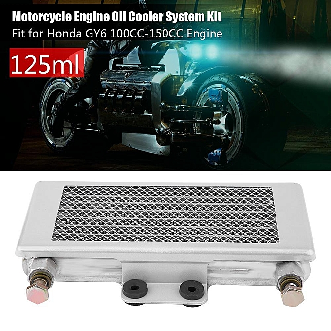 Justgogo 125ml Motorcycle Engine Oil Cooler Oil Cooling System Kit For  Honda GY6 100CC-150CC Silver With Net Cover