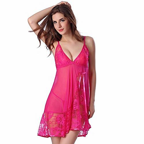 4d327c588059 Fashion Wenrenmok Store Women Lace Sexy Nightwear Underwear Babydoll  Sleepwear Dress+G-string Set HOT L-Hot Red
