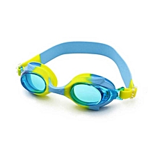 Anti-fog Silicone Swimming Goggles With Ear Plugs For Children (yellow + Blue)