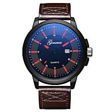 Olivaren  Fashion GONEWA Men Date Stainless Steel Leather Analog Quartz Sport Wrist WatchBrown