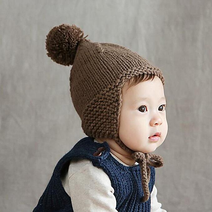 4be5d4b4e02 ... Cute Baby Toddler Girl Boy Elasticity Hairball Knitting Beanie Cap Warm  Hat - Coffee