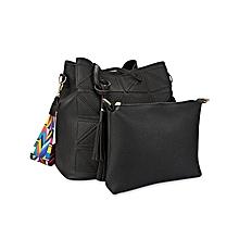 Geometric Stitching Bucket Handbag - Black
