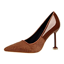 9.5cm Thin High Heels Pumps Women Flock Shallow Wedding Formal Shoes (Khaki)