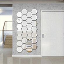 12Pcs 3D Mirror Hexagon Vinyl Removable Wall Sticker Art DIY Decal Home Decor