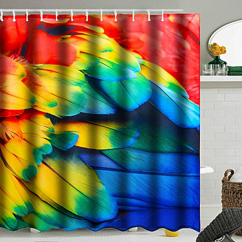 Generic 71 Waterproof Feather Bathroom Printed Shower Curtain Polyester With 12 Hooks
