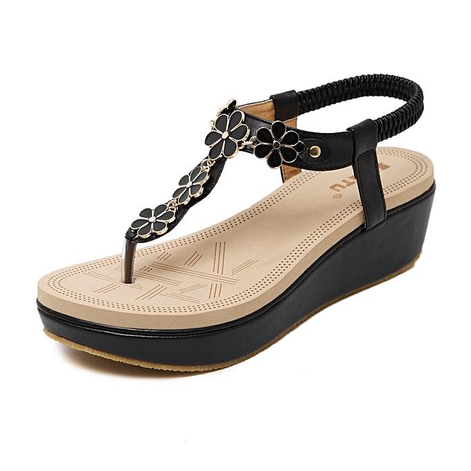 bef5068c8 New Large Size Summer Wedge Sandals Women Sandals Fashion Flip Flops  Comfortable Shoes -black