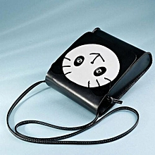 bluerdream-Fashion Zero Purse Bag Leather Handbag Single Shoulder Messenger Phone Bag BK- Black