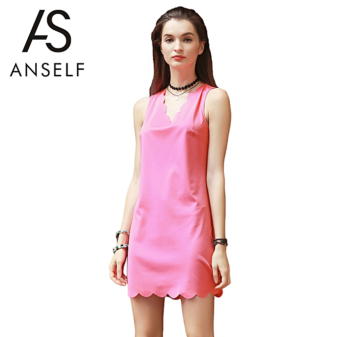 d1340041e4 Summer Women Tank Dress V Neck Sleeveless Scalloped Edge Mini Dress  Straight Sundress Shift Dress Pink