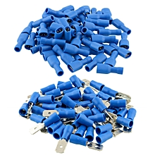 100x Blue Insulated Spade Electrical Crimp Wire Cable Connector Terminal Kit