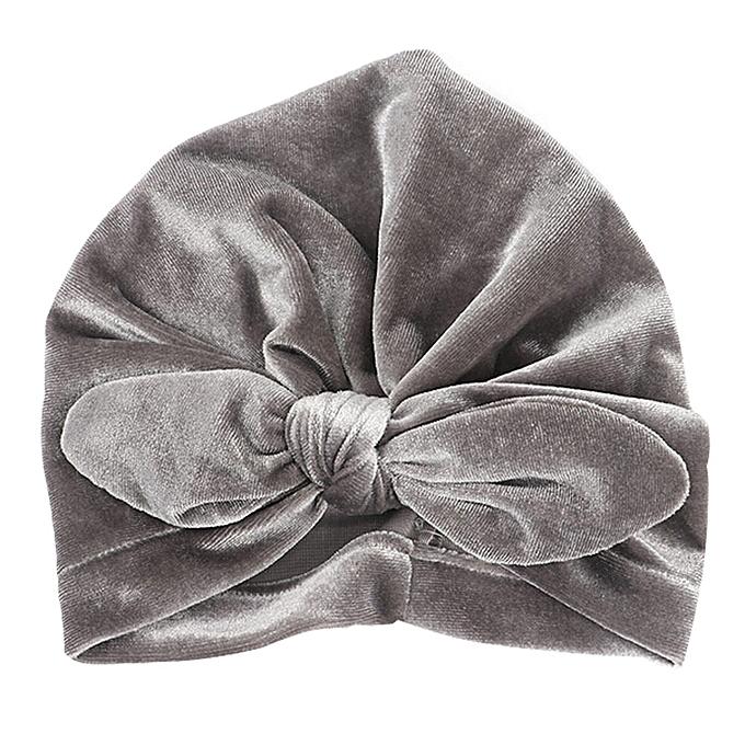 f9d098d38f9 Newborn Girls Boys Rabbit Ears Bowknot Cotton Sleep Cap Headwear Hat-Gray
