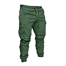 Jungle Green Men's Cargo Khaki Trousers-Stylish Pocketed