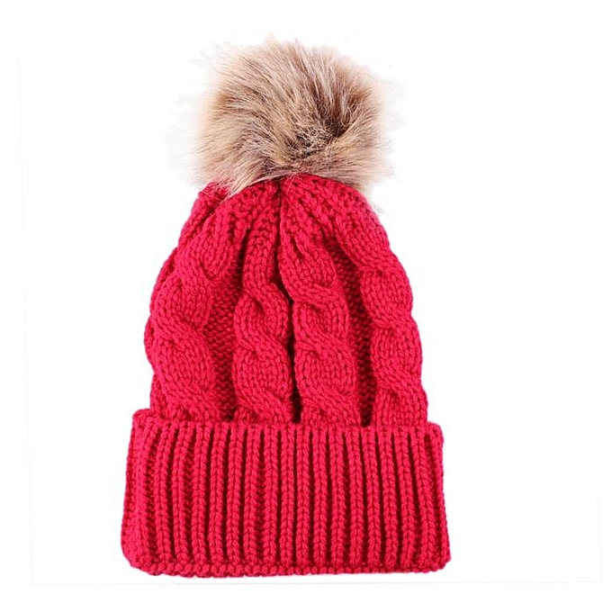23116154b3c singedanWomen Winter Crochet Thicken Hat Wool Knit Beanie Warm Cap RD -red