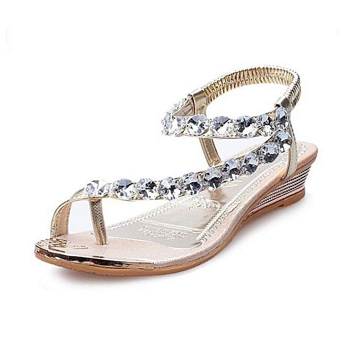 45759b97f32ce8 hiamok Woman Summer Sandals Rhinestone Flats Platform Wedges Shoes Flip  Flops GD 38