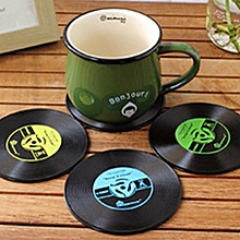 4 PCS Retro Black Vinyl CD Record Drink Coasters Home Table Cup Mat Decor  Drink Placemat Tableware Spinning, Diameter: 10cm, Random Color Delivery