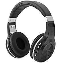Bluedio H+ Wireless Bluetooth Hands Free Headset Super Bass Music Headphone with Line-in Socket Microphone TF Card Slot for Smartphones Computer Tablet PC BLACK