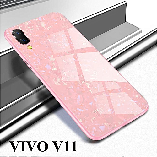los angeles e6518 62caa Luxury Tempered Glass Marbling Phone Case For VIVO V11 Back Cover (Pink)