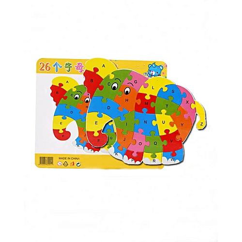Block Puzzle Wood Word Alphabet Games Mat for Kids – Elephant